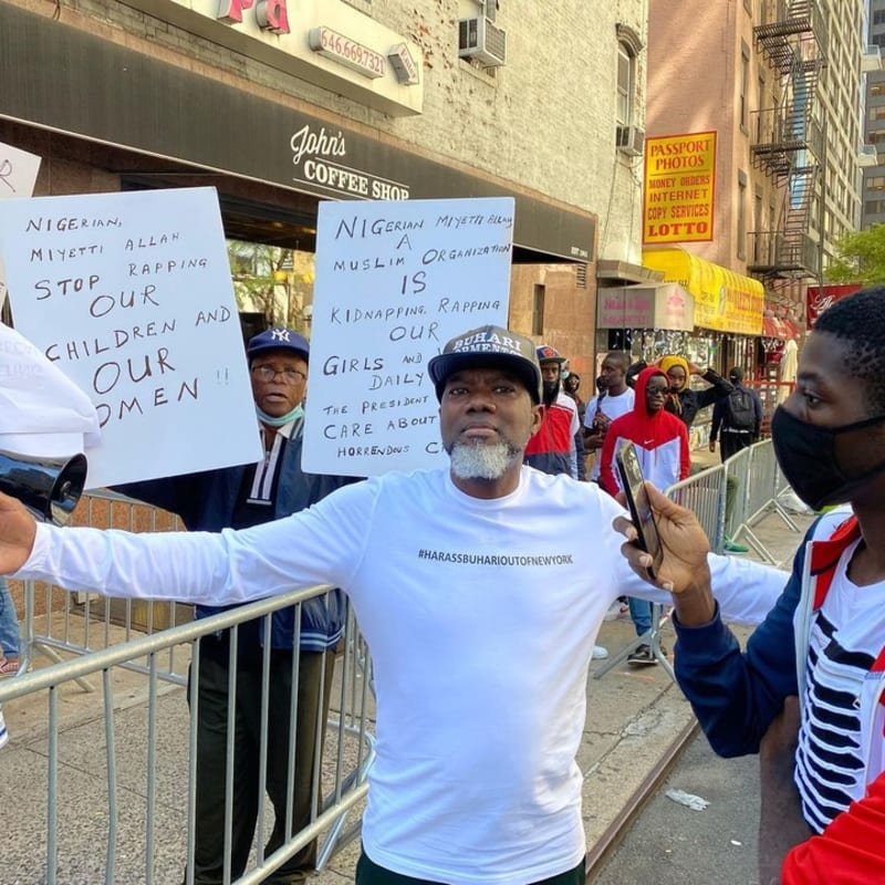 Reno Omokri Leads 'Harass Buhari Out Of New York' Protest (Video)