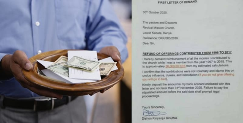 Man Writes Church, Asks For Refund Of Offerings He Gave From 1998 To 2017