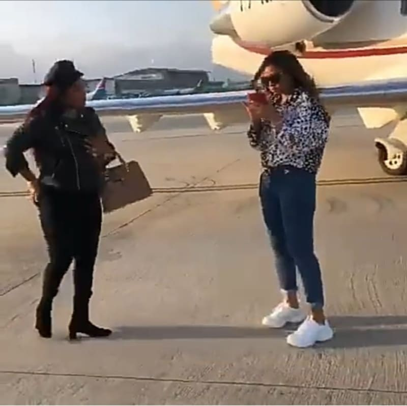 Regina Daniels & Her Mum Arrive Cape Town In Style. Welcomed With Flowers