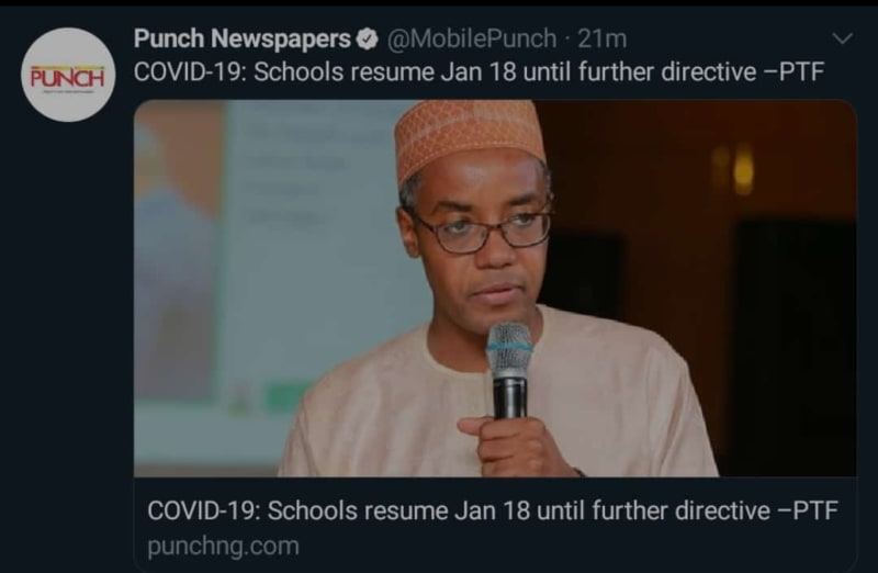 Schools Resume January 18 Until Further Directive – PTF
