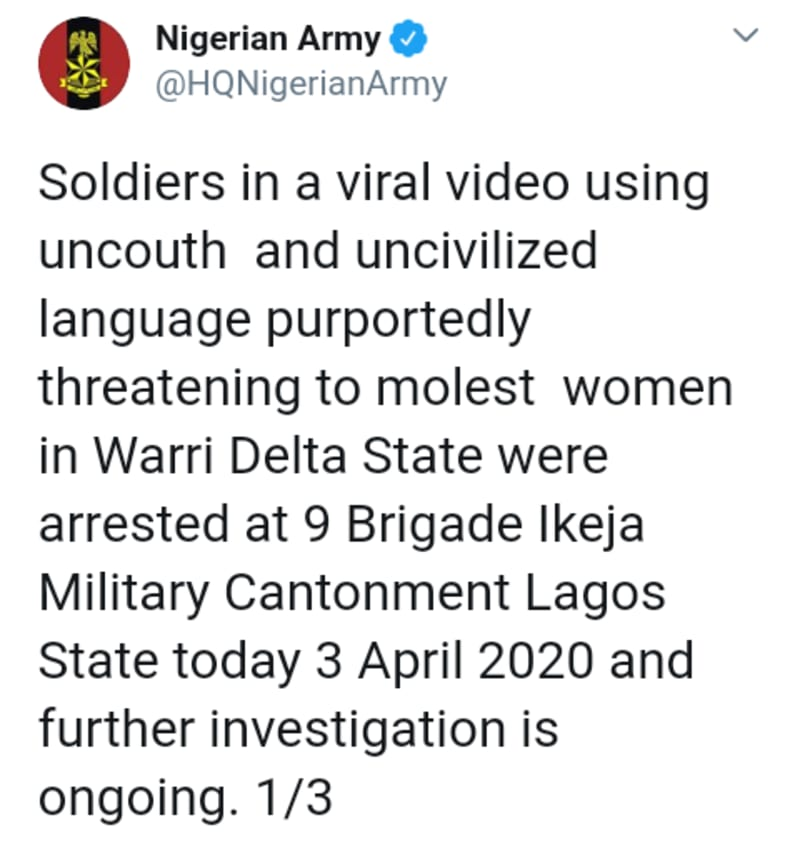 Soldiers Who Threatened To Rape Women In Warri Arrested
