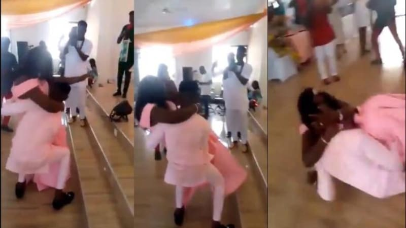 Groom Falls While Trying To Carry His Plus-Sized Bride (Video)