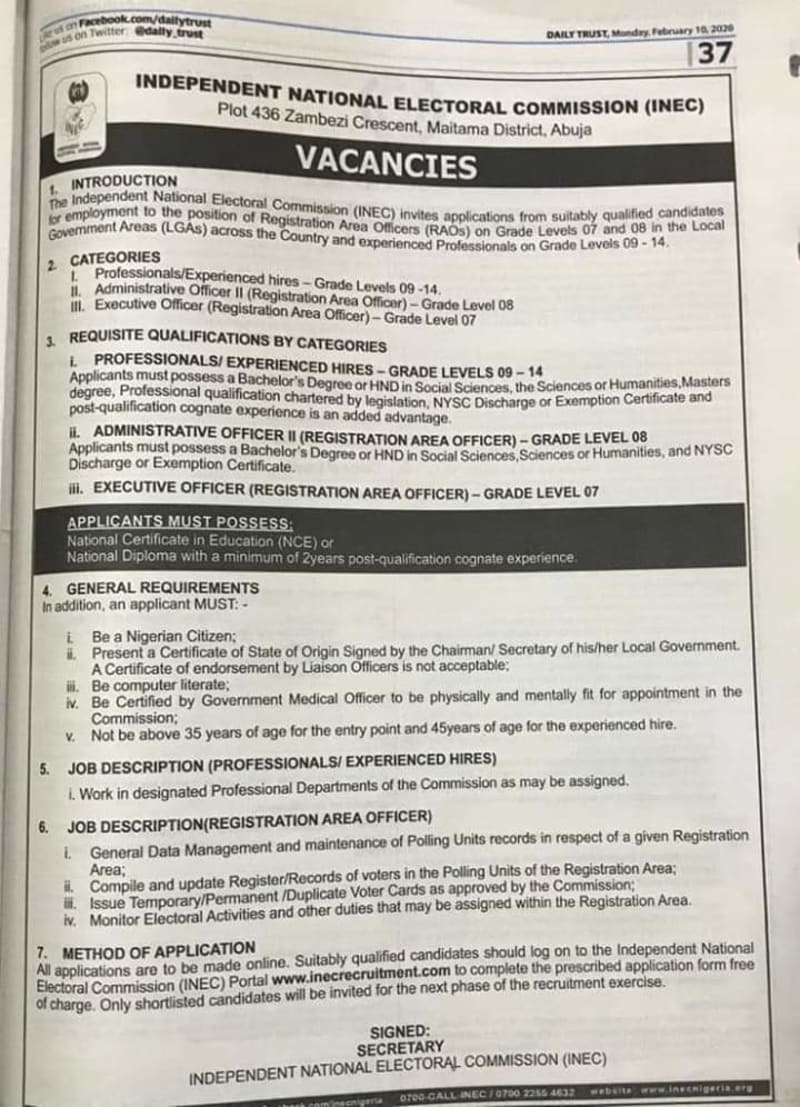 INEC Nationwide 2020 Recruitment For OND/NCE/HND/Degree Holders