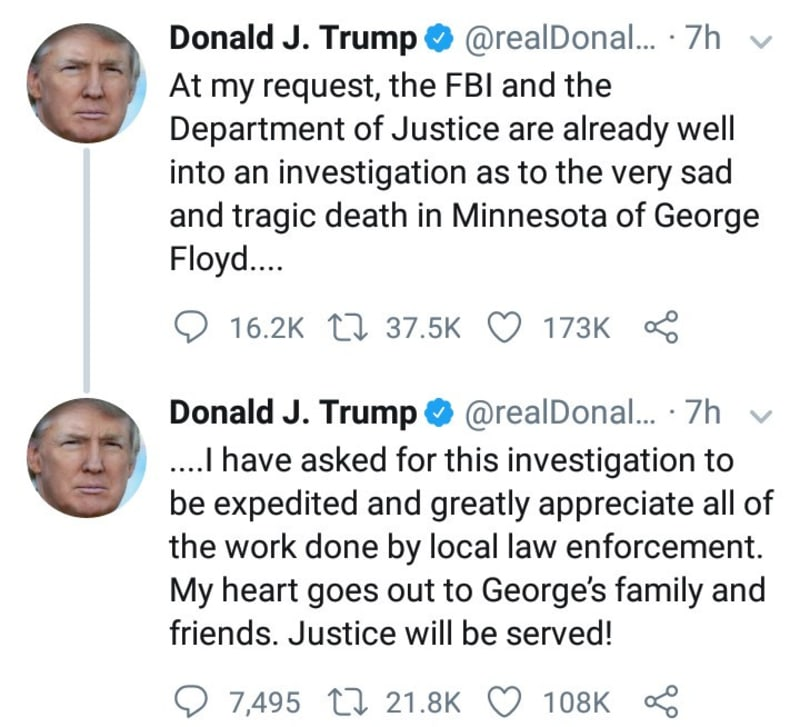 Donald Trump reacts to the death of George Floyd