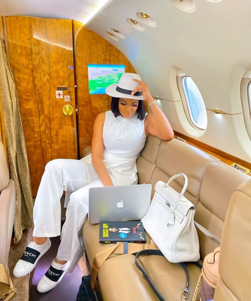 Chika Ike Flies In A Private Jet For Business Meetings