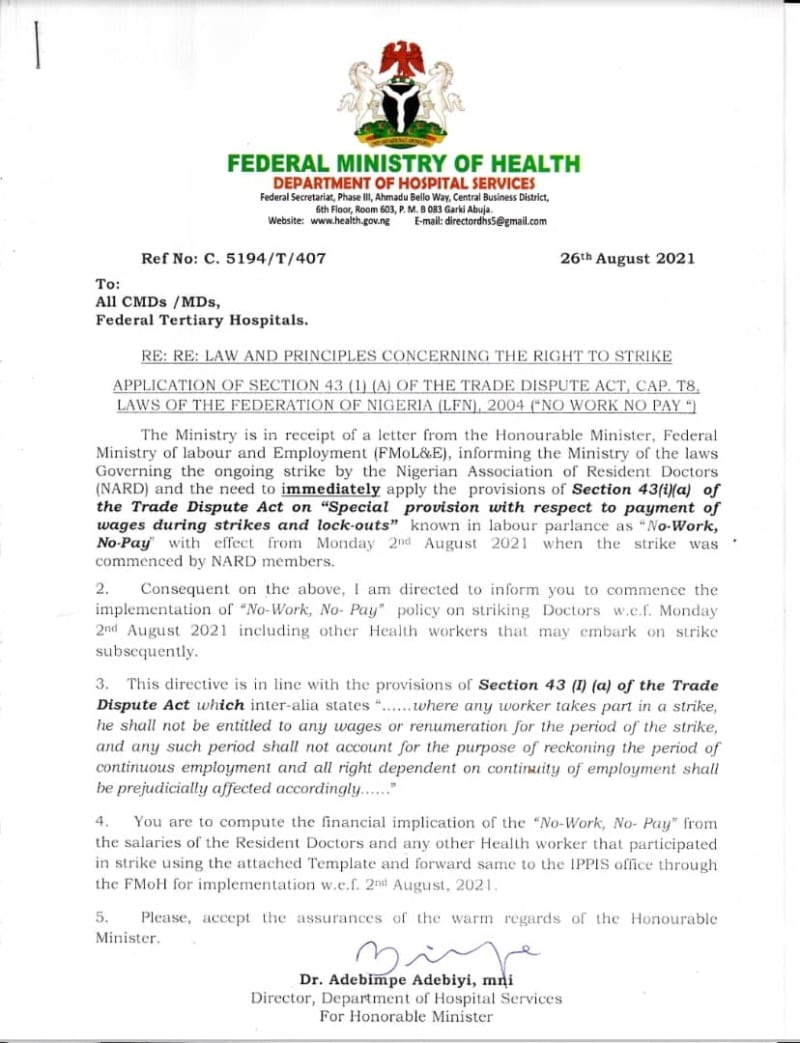 """The Strike Continues As FG Threatens """"No Work No Pay"""" For Doctors"""