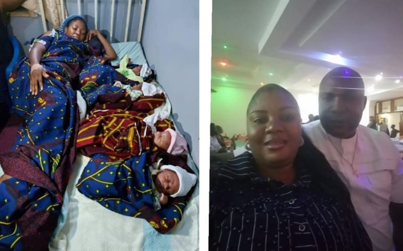 Anambra Woman Gives Birth To Quadruplets After 16 Years Of Marriage