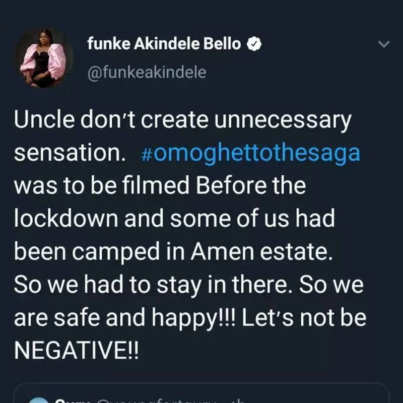 Funke Akindele: Why I Held A House Party. Deletes Tweets After Being Dragged