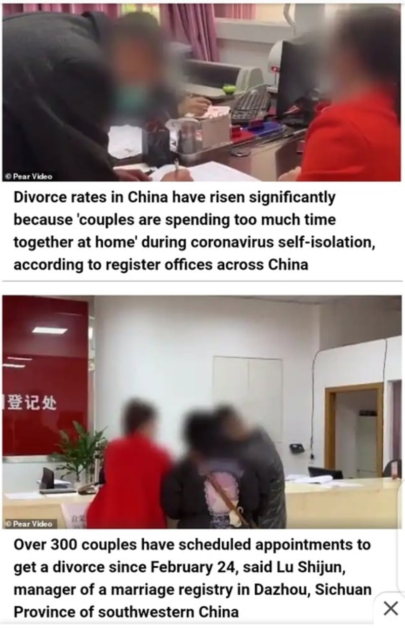 Coronavirus Leads To Increase In Divorce Rates In China