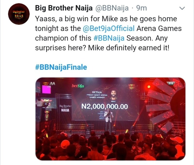 bbnaija: mike wins bet9ja arena games champion, gets 2 million naira
