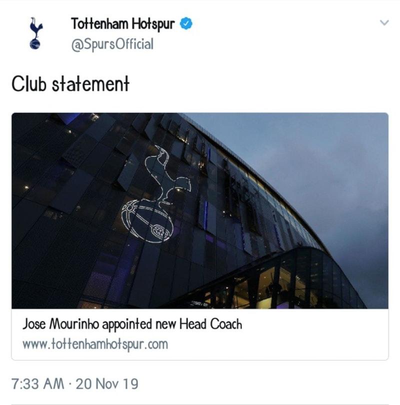 Tottenham Hotspur Appoint Jose Mourinho As New Manager