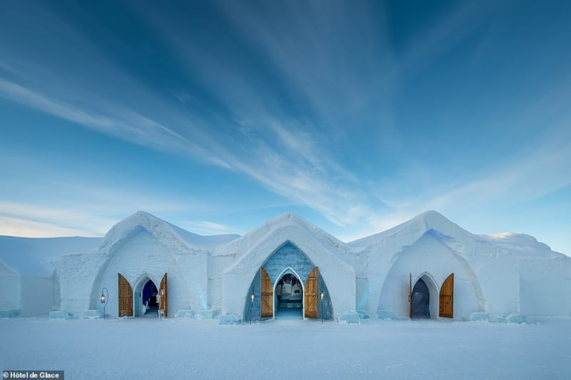 Inside Canada Ice Hotel With 15 Suites, Bar And Wedding Chapel
