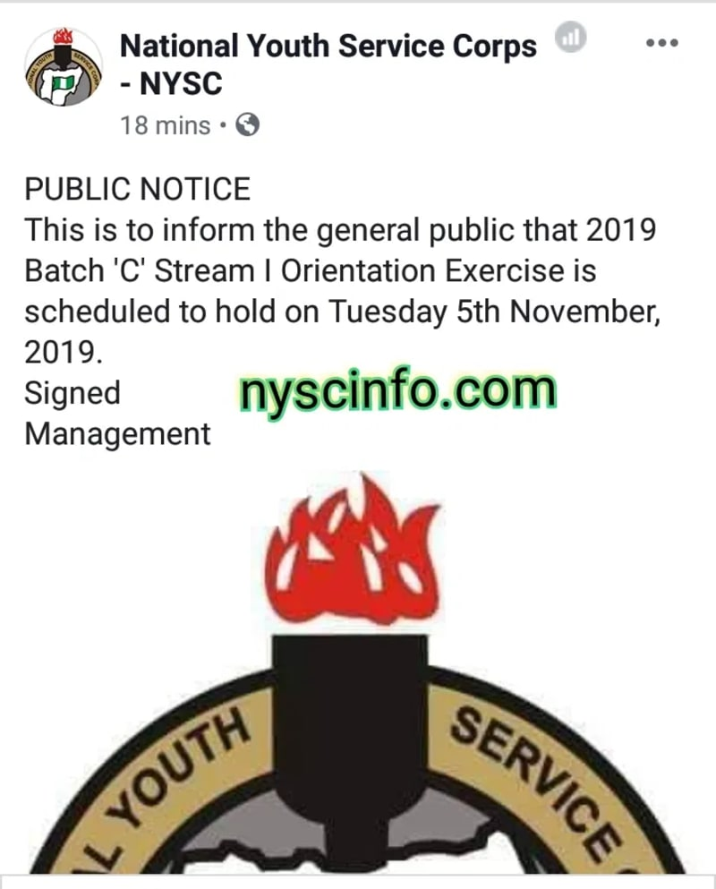 NYSC Officially Announces 2019 Batch C Stream 1 Camping Date