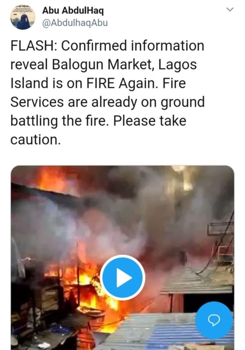Balogun Market, Lagos On Fire (Video)
