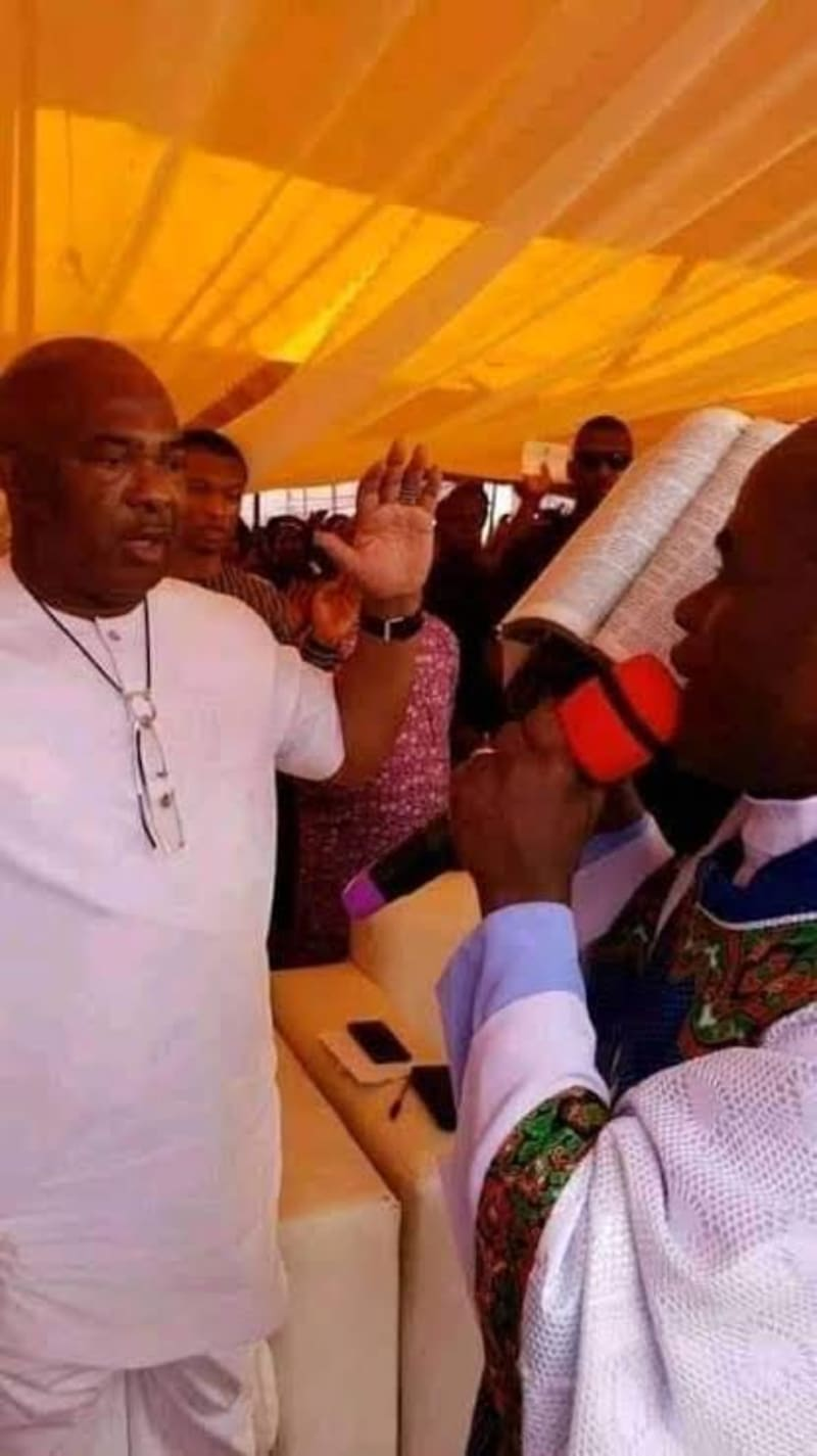 Hope Uzodinma With Father Mbaka During The New Year Prophetic Declaration (Pic)