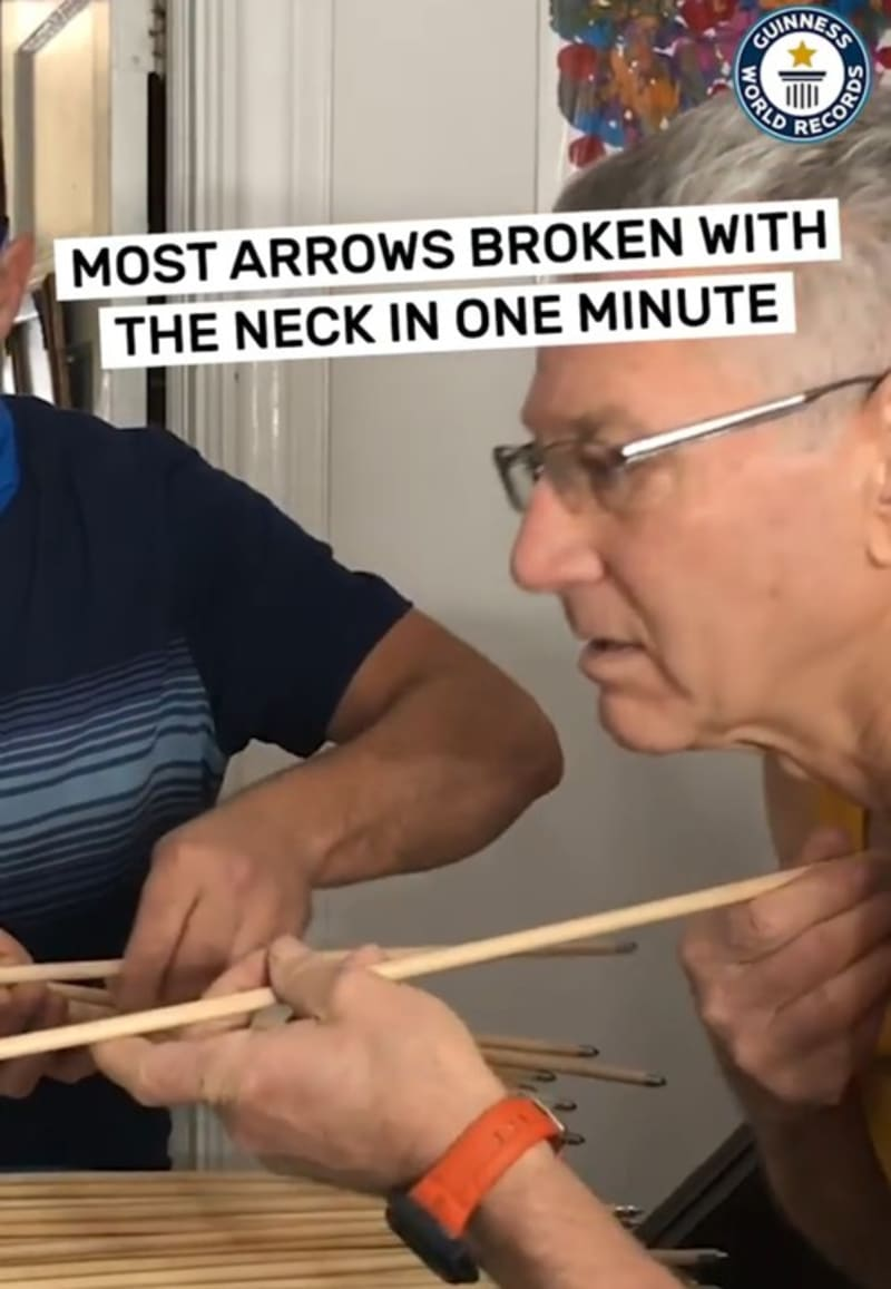 66-Year-Old Man Breaks Guiness World Record For Most Arrows Broken With The Neck