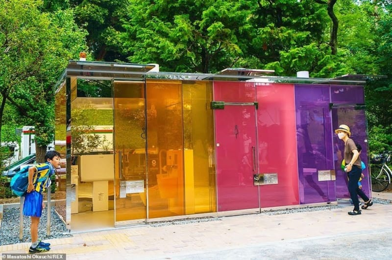 Transparent Glass Public Toilet That Becomes Opaque When Occupied In Tokyo