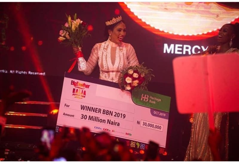 bbnaija: mercy receives her n30m cheque prize