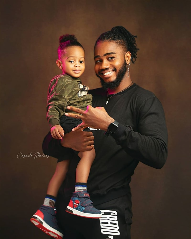 BBNaija's Praise And His Son Look Cute In New Pictures
