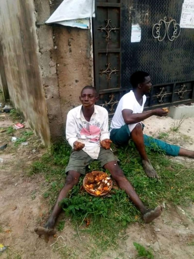 3 Men Carrying Sacrifice In Lagos, Forced  To Eat It (Photos)
