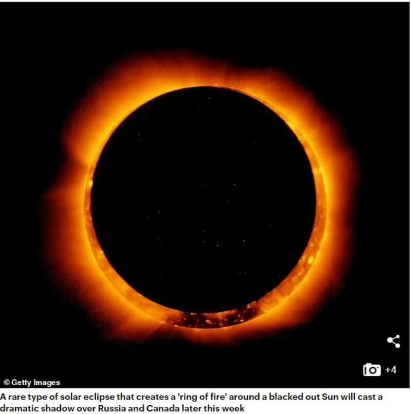 Rare 'Ring Of Fire' Solar Eclipse To Take Place On June 10