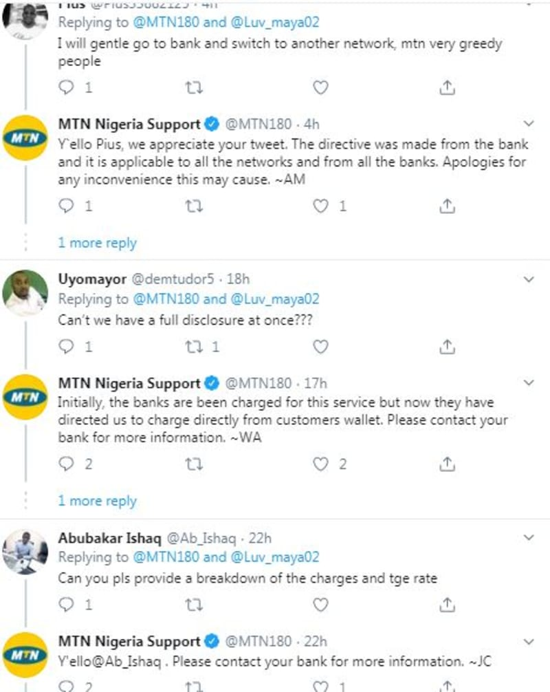 MTN, Nigerians React To The Introduction Of USSD Charges