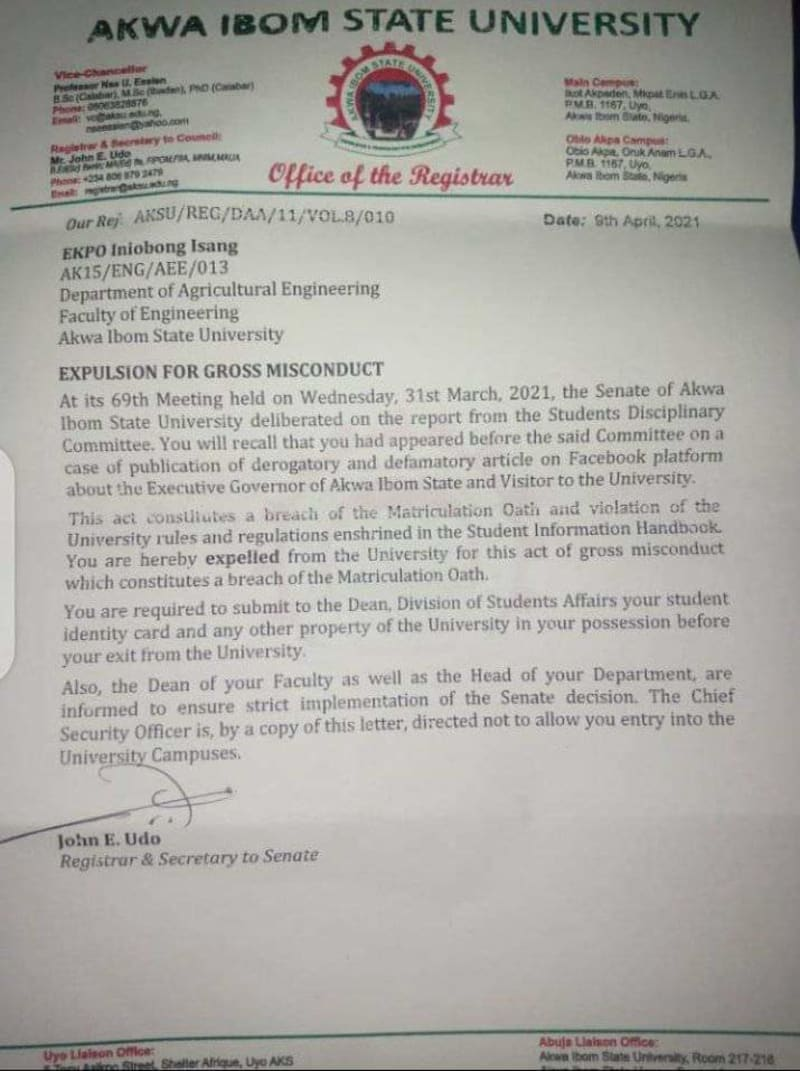 Akwa Ibom State Uni Expels Final Year Student For Post Against Governor Udom