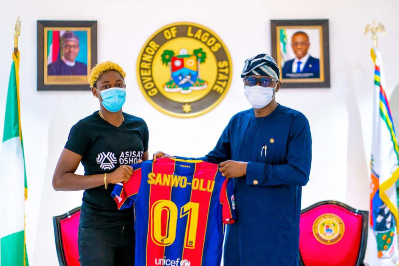 Lagos State Governor Hosts Barcelona Star, Asisat Oshoala