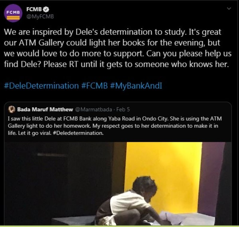 FCMB In Search Of A Little Girl Who Used Their ATM Light To Write Her Assignment