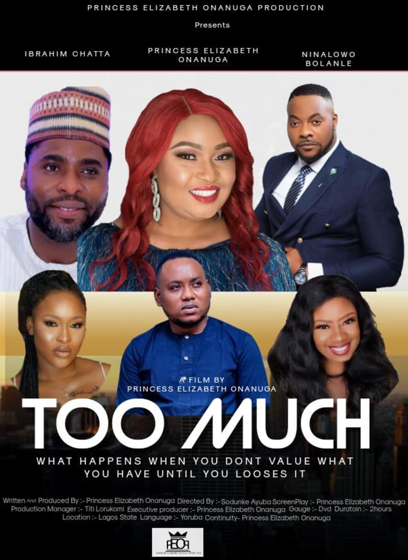 Nollywood Actress, Princess Elizabeth Onanuga To Premiere New Movie 'TOO MUCH'