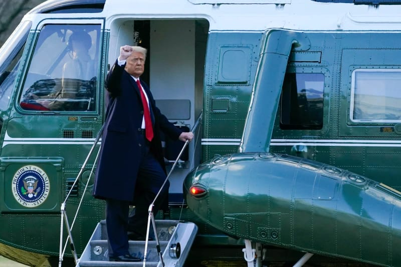 Donald Trump Leaves The White House For Last Time As President (Video)