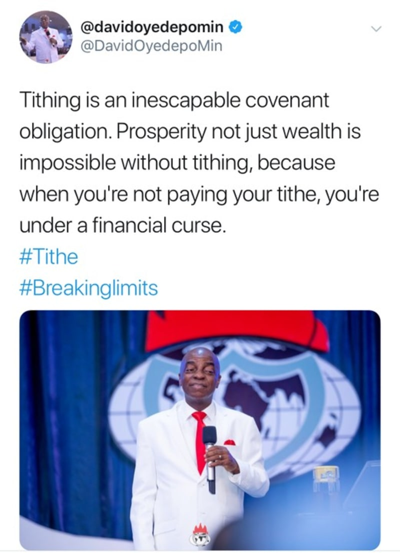 """You Are Under A Financial Curse When You Don't Pay Your Tithe"" – Bishop Oyedepo"