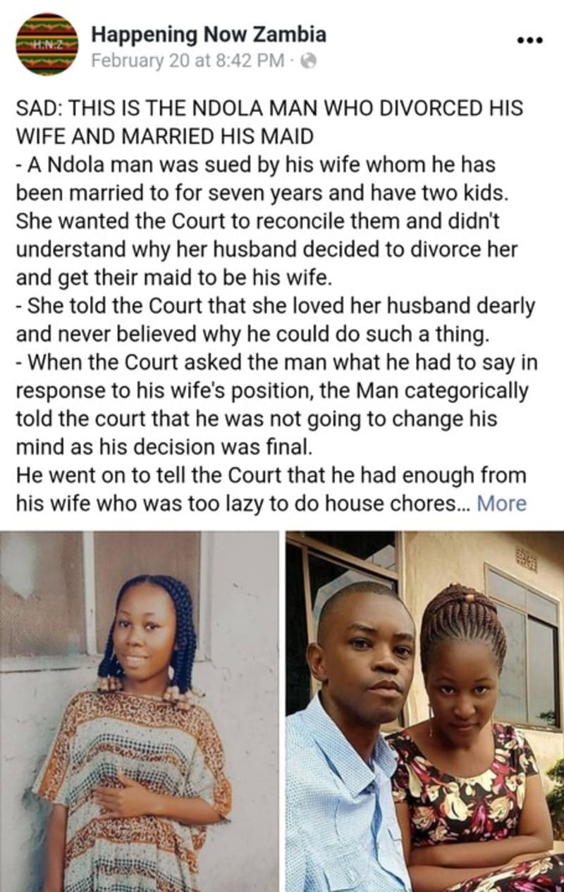 Zambian Man Divorces His Wife And Marries Their Maid