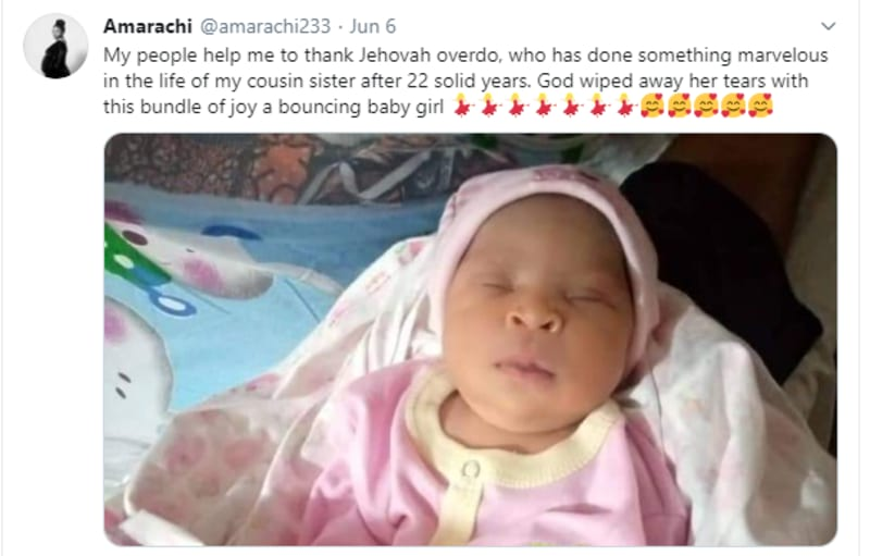 Woman Welcomes A Baby Girl After 22 Years Of Marriage