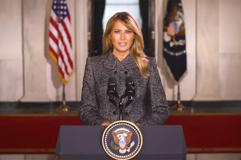 """Melania Trump Goodbye Message Promotes """"Love Over Hatred, Peace Over Violence"""""""