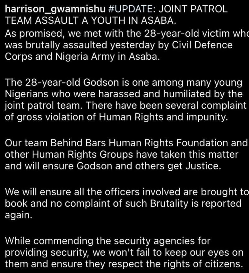 Soldiers Arrested For Beating A Young Man In Asaba, Delta State (Video)