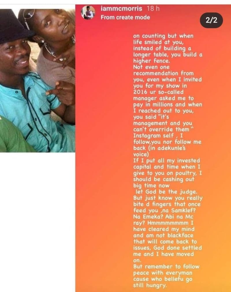 """""""You Bit The Finger That Fed You"""" - Comedian, MC Morris Calls Out Simi"""
