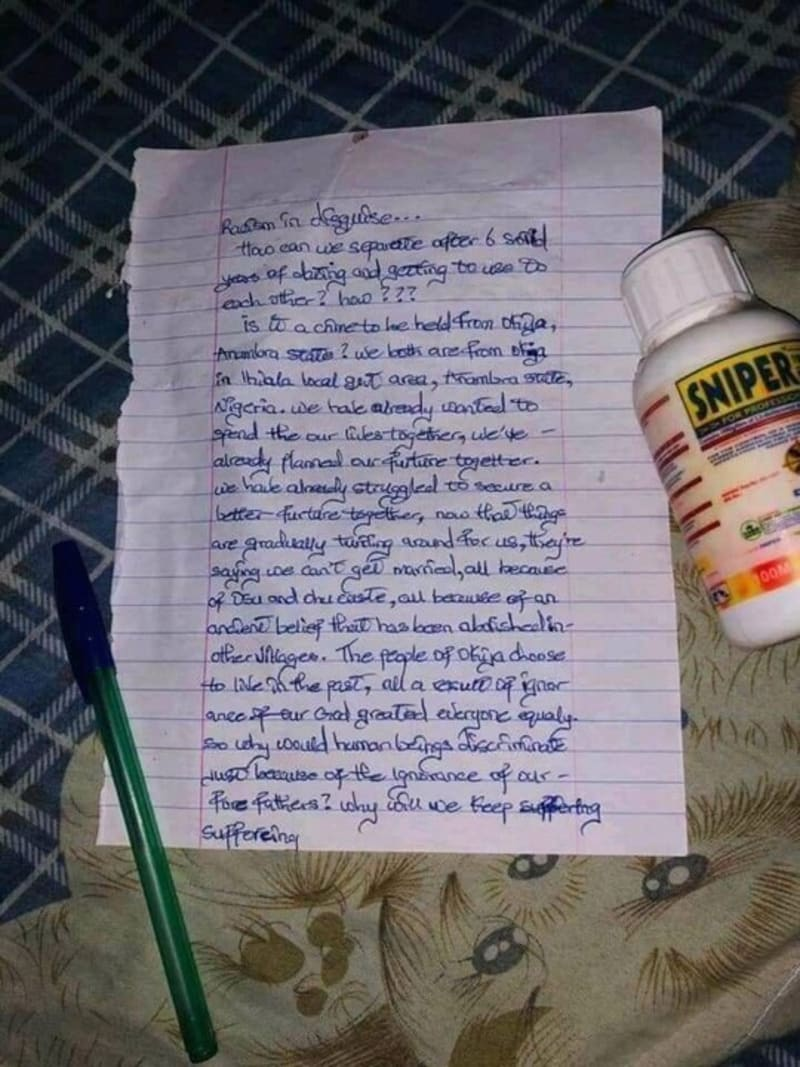 2 Lovers From Anambra Commit Suicide. Drop Suicide Note (Disturbing Pictures)