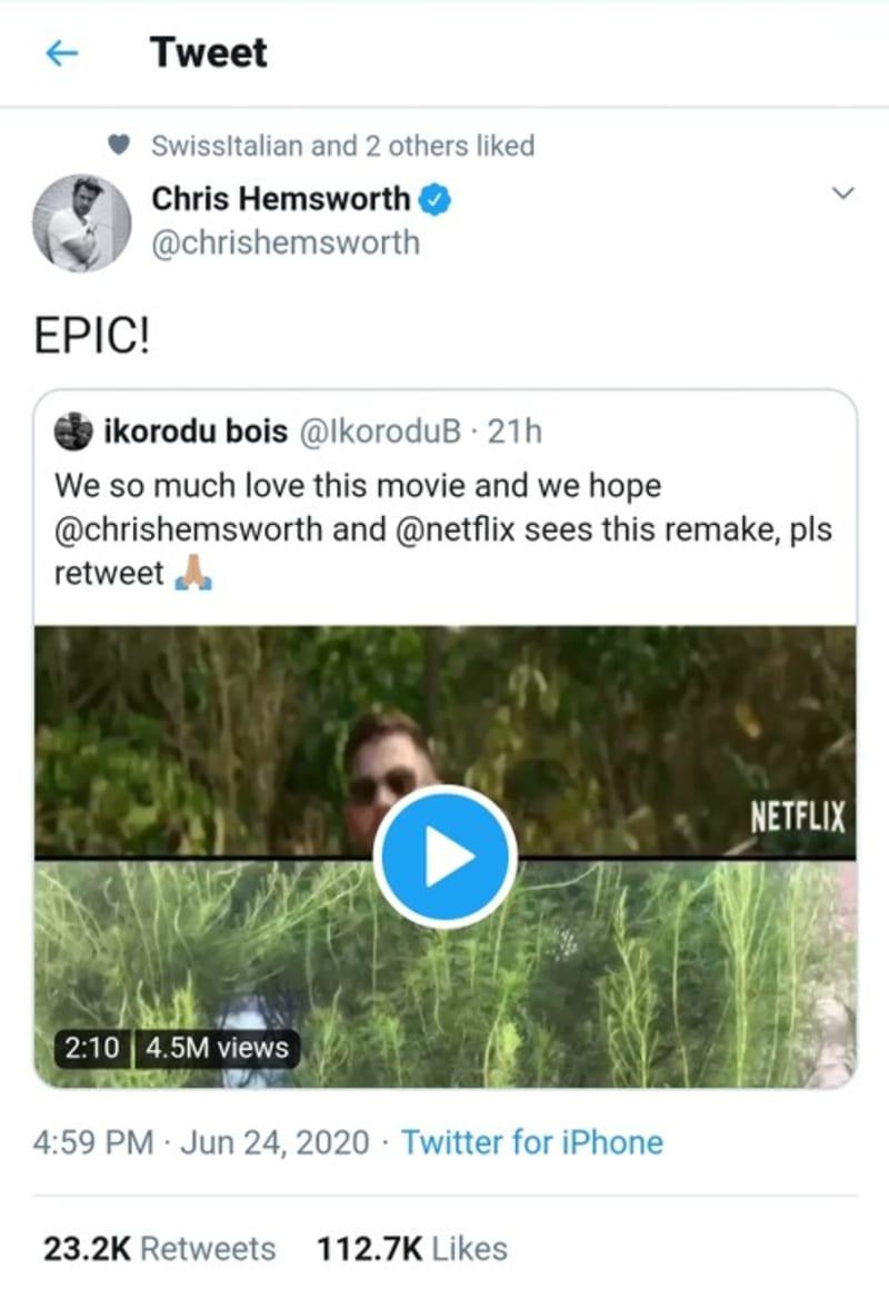 "Actor Chris Hemsworth, Netflix React To Ikorodu Bois ""Extraction"" Movie Remake"