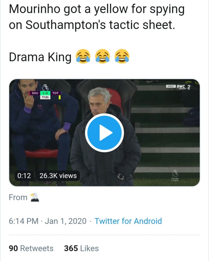 Jose Mourinho Get's a yellow Card For Looking At Southampton's Tactics Sheet