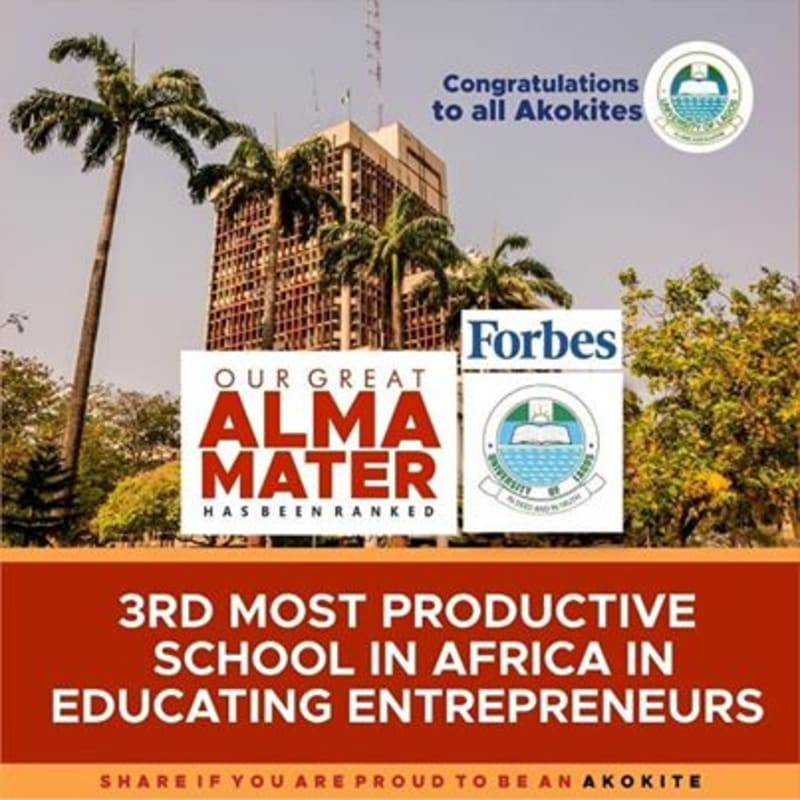 UNILAG Ranked 3rd Most Productive School  In Africa In Educating Entrepreneurs