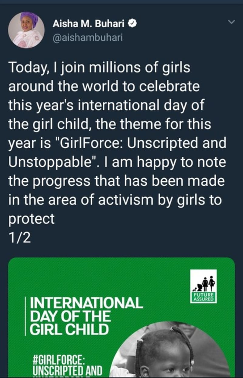 the first lady, aisha buhari celebrates international day of the girl child