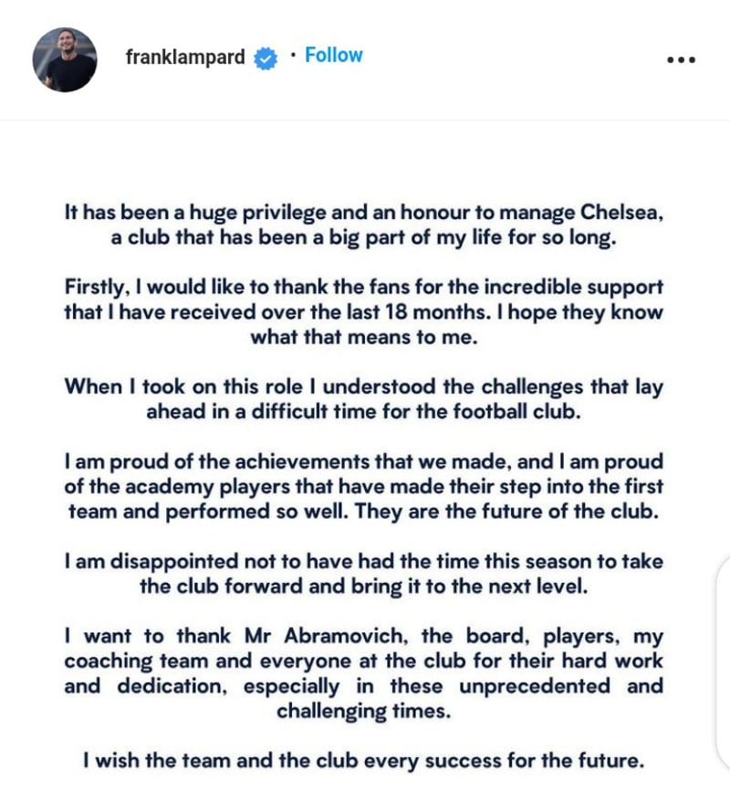 Frank Lampard Reacts To His Sacking As Chelsea Coach