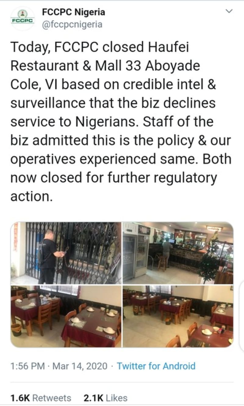 FG Shuts Down Chinese Restaurant That Declined Services To Nigerians