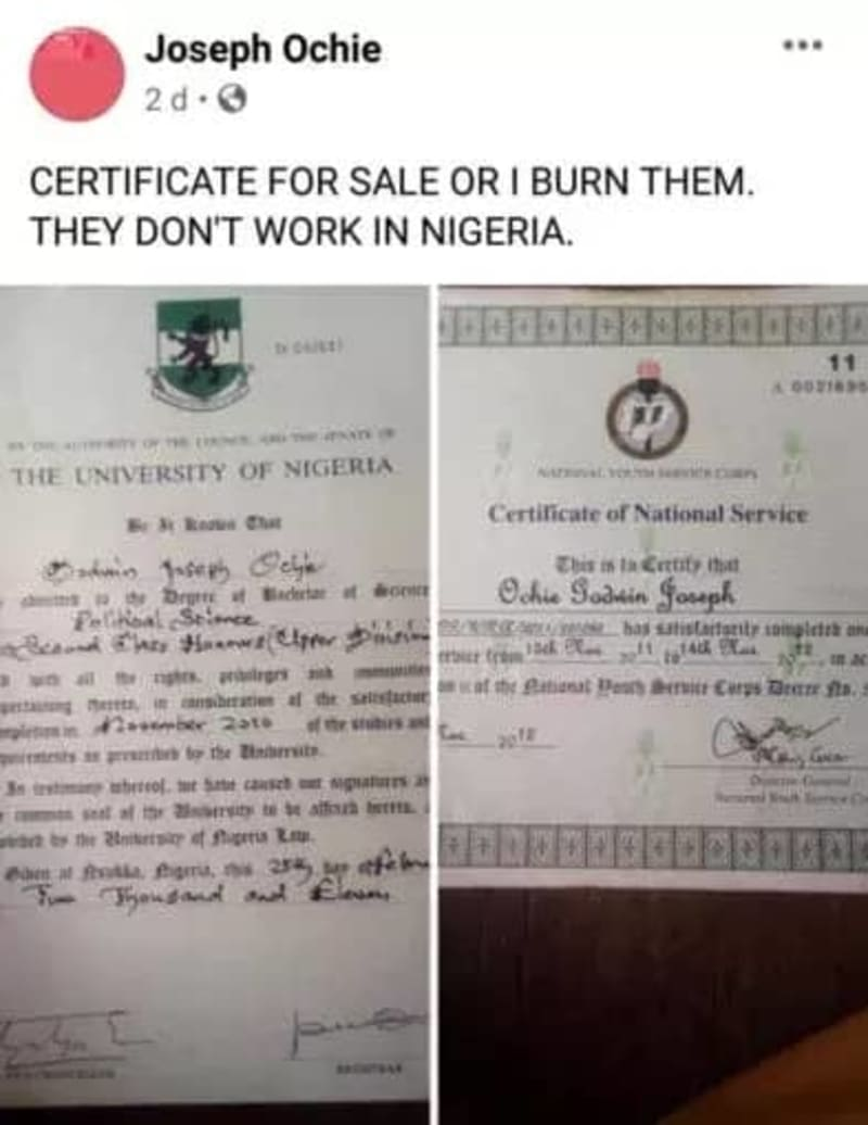 UNN Graduate Puts Up Bsc & NYSC Certificates For Sale Over Lack Of Job