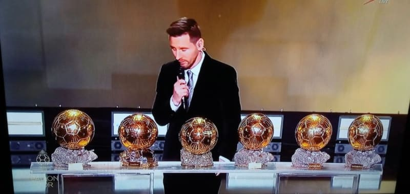 Messi Shows Off His 6th Ballon D'or Awards