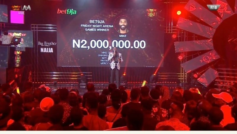 bbnaija shares bet9ja arena game weekly record which proves mike won