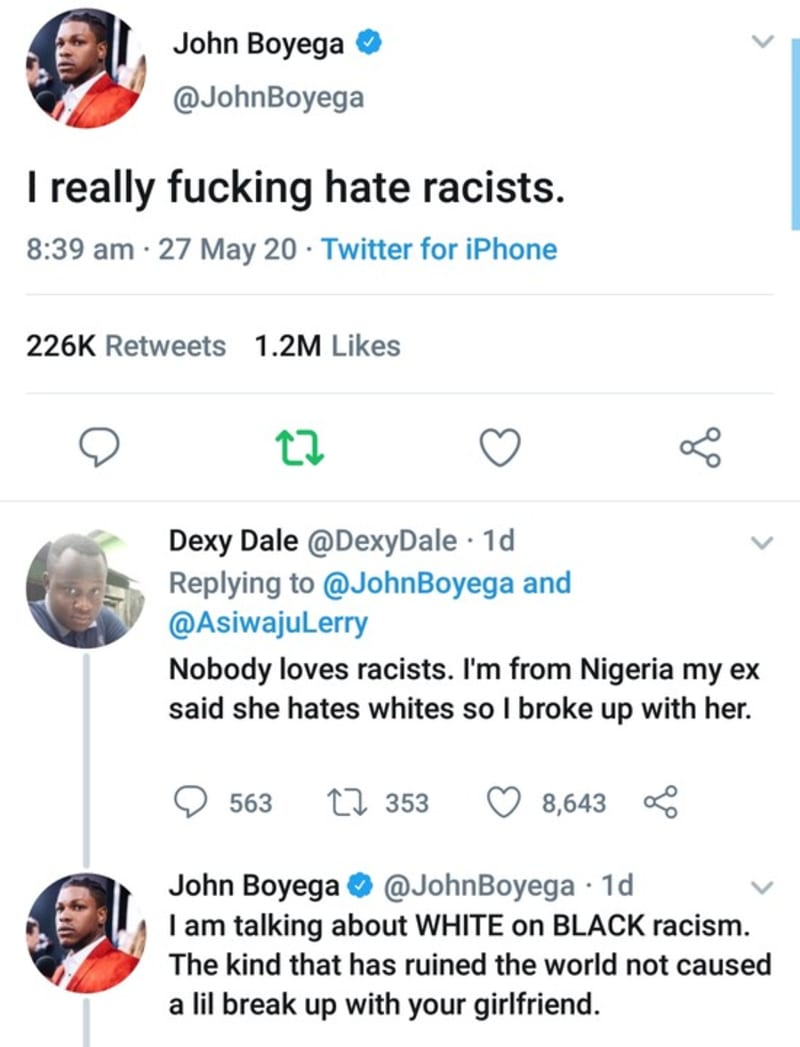 Actor, John Boyega Blows Hot Against White Racists