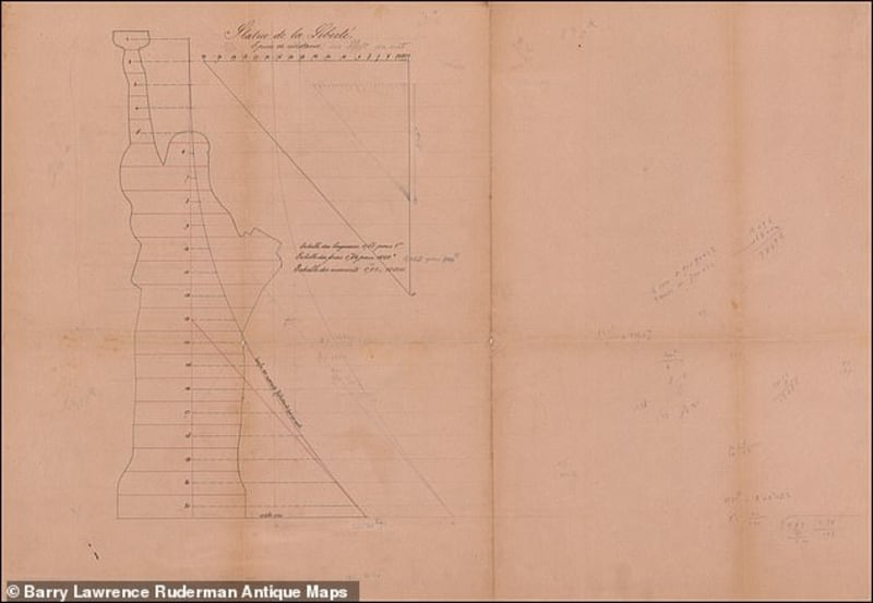 Original Hand-drawn Plan Of NewYork Statue Of Liberty From 150-Years-Ago
