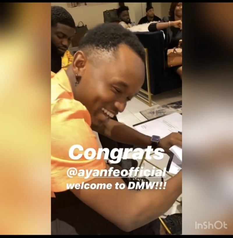 Davido Signs New Artiste, Ayanfe To DMW (Video)